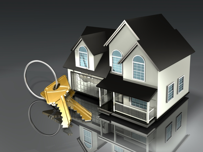 3d illustration of a house with a set of brass keys on a keyring sitting in front of it