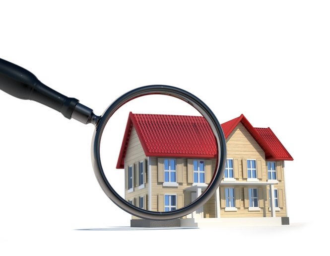 colorful 3D rendering of a house with a red roof and a magnifying glass enlarging left side of house