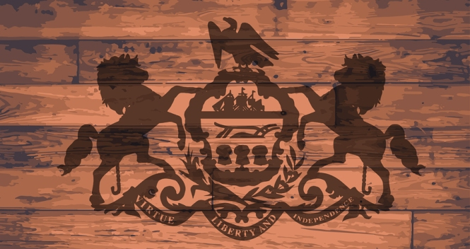 Pennsylvania State Flag branded onto wooden planks