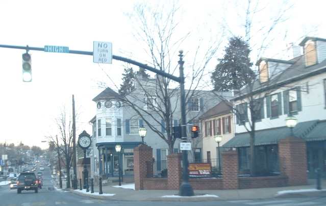 The square in Elizabethtown, PA with signal light and traffic on street