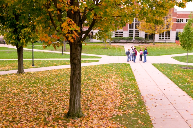 A small group of students outside of Lebanon Valley College in Annville during the fall